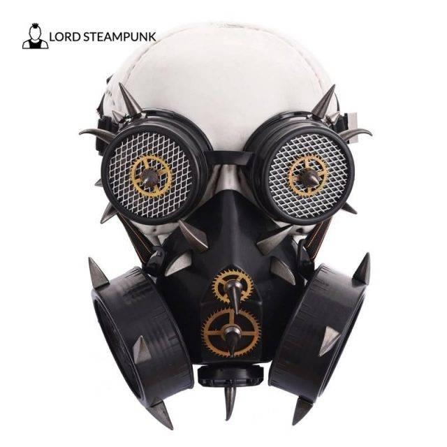 Cyberpunk Retro Black Metal Mask + Goggles Cyberpunk Masks New Arrivals