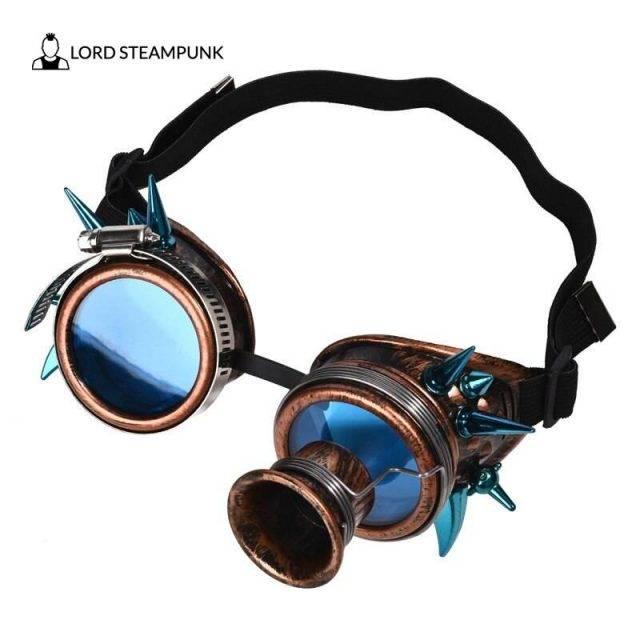 Steampunk Goggles Unisex Blue Rivets